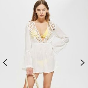 Topshop White Crochet Kaftan Dress